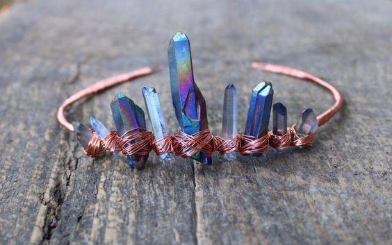 Raw crystal crown / wire wrapped tiara / titanium quartz   Tiaras ...