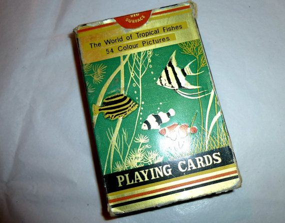 Tropical Fish of the World Deck. Vintage Playing Cards. Used Boxed Deck. 1960s Hong Kong