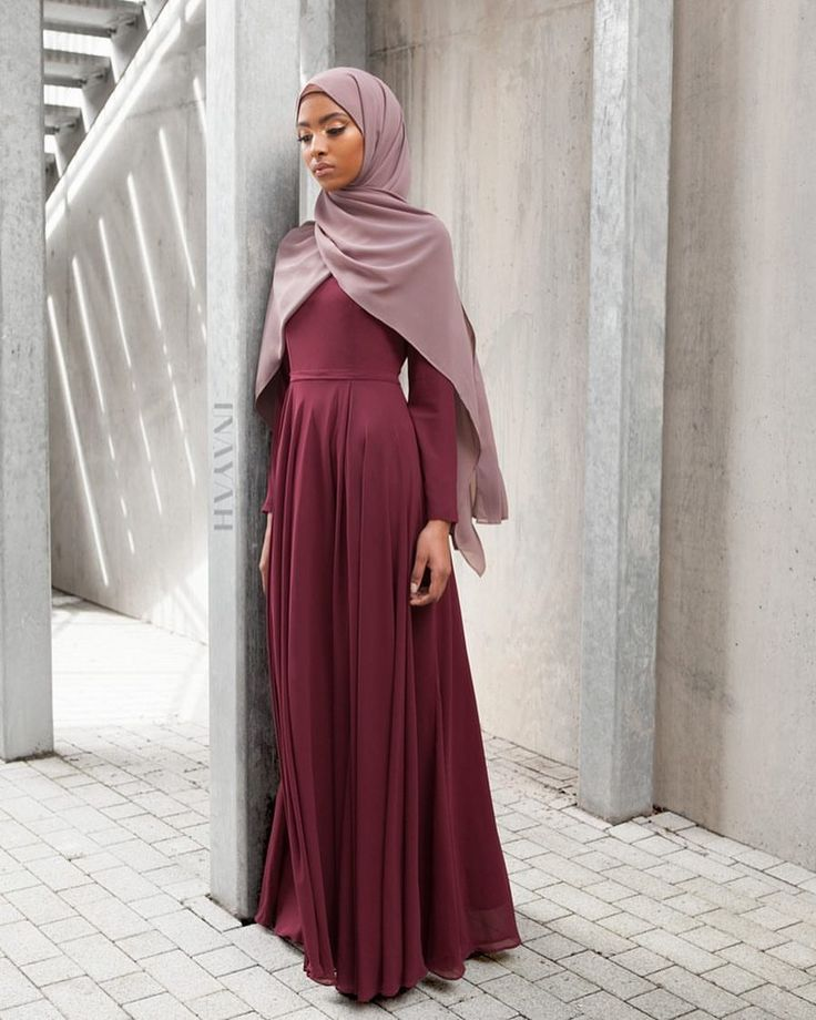 INAYAH | Drawing upon natural materials, popular and attractive shades as well as neutral palettes; INAYAH have shaped the perfect evening gown for you. - Dark Maroon Arya #Gown + Dirt Pink Soft Crepe #Hijab www.inayah.co