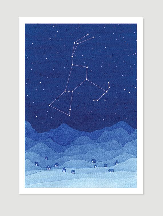 Watercolor painting Orion constellation blue mountains giclee print village wall decor starry night sky home art by VApinx