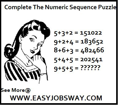 Complete The Numeric Sequence Puzzle Complete The Numeric Sequence Complete Puzzle Complete Numeric Sequence Puzzle.......