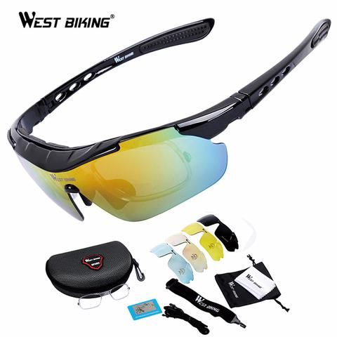 West Biking Lunettes de soleil polarisées Unisexe 5verres interchangeables Coupe-vent, anti- UV VTT Vélo Pêche Course Camping Sports Sécurité Conduite, noir