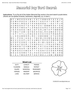 Memorial Day word search puzzle with a poppy. 4 levels of difficulty. Word search changes each time you visit
