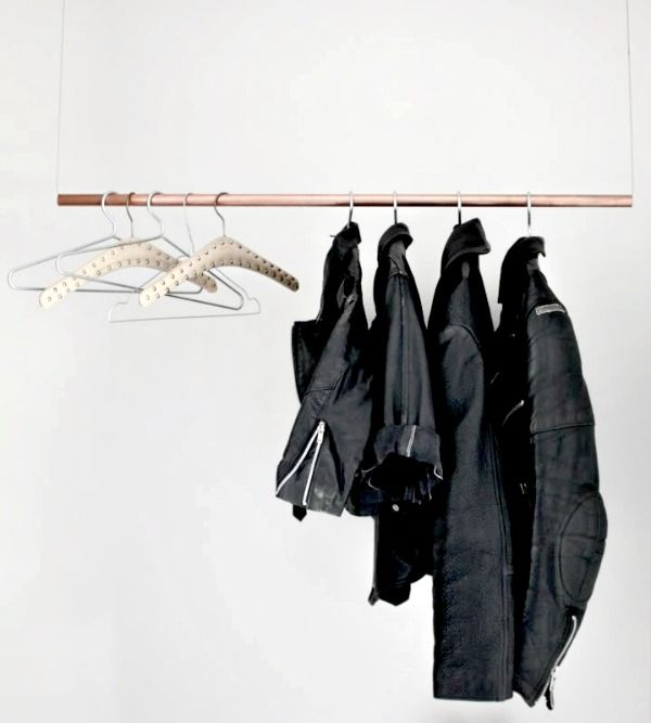 clothing rack made of copperpipe.