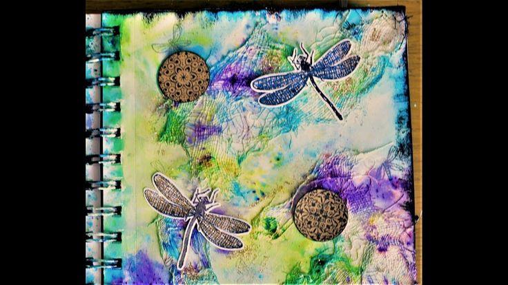 art journal page process brusho powders muslin texture