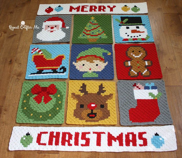 Get ready to finish your Merry Christmas pixel afghan with this fun border! Free…