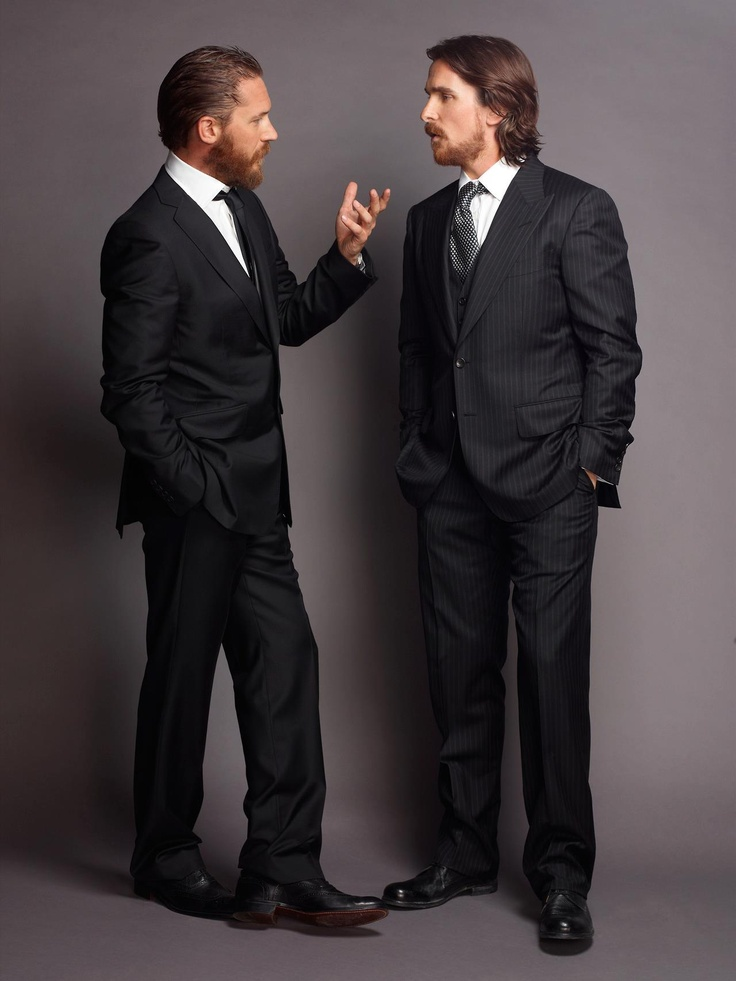 Tom Hardy and Christian Bale...bearded and in suits