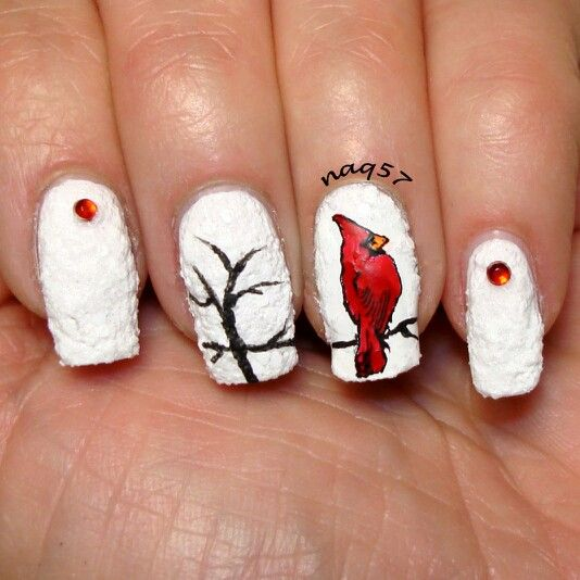 53 best winter nails images on pinterest christmas nails nail male cardinal out in the snow nail art design prinsesfo Image collections