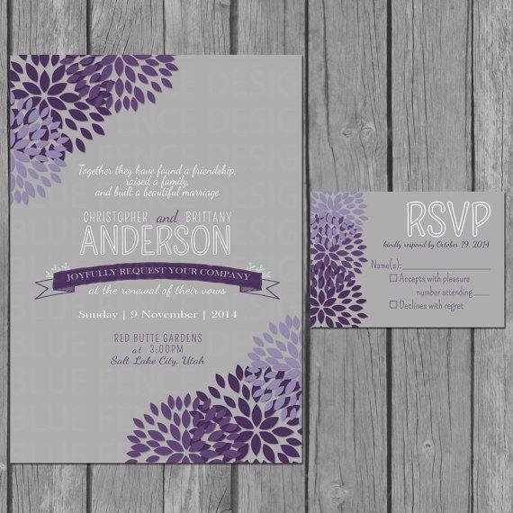 flower wedding invitation modern vow renewal reception