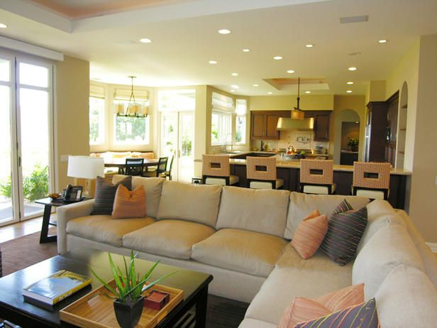 Open Floor Plan Kitchen and Living Room - Recessed lighting is a good choice for a living room. Consider placing above a sofa, coffee table or chairs.