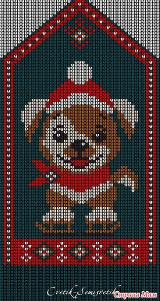 Готовимся к Новому году! Новый жаккард для вязания спицами детям. Схема 45 петель в ширину и 111 петель в высоту. Схема 24х60 петель - узкая