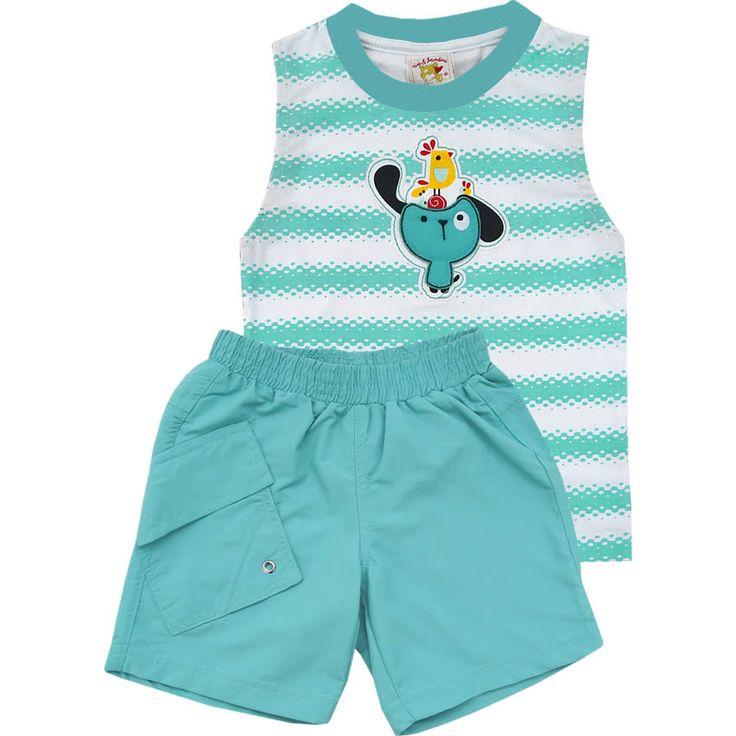 Conjunto Bebê Masculino com Bermuda Tactel Turquesa - Nini & Bambini :: 764 Kids | Roupa bebê e infantil