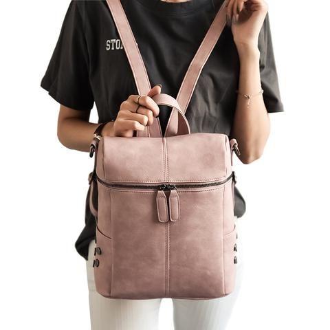 Simple Style Backpack Women PU Leather Backpacks For Teenage Girls School Bags Fashion -handbags - Buy2Moda