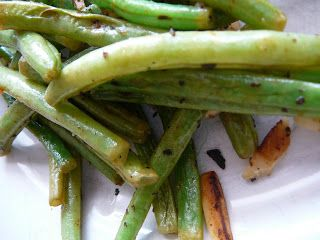 Roasted Green Beans.  Love them with sliced crimini mushrooms and minced garlic instead of powder.  Yummy goodness.