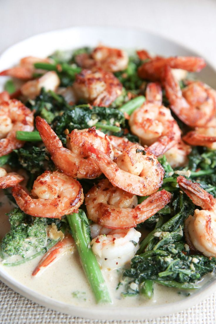Parmesan Shrimp with Garlicky Broccoli