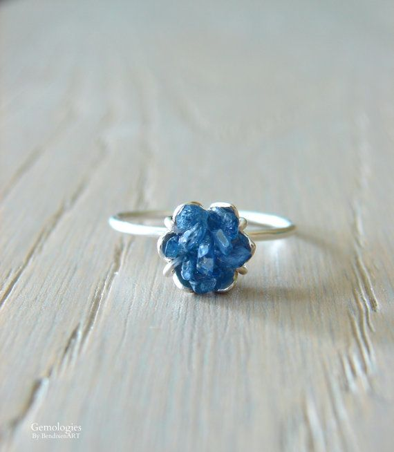Rough Sapphire Ring Christmas Gift for Her September by Gemologies