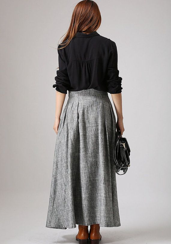 Gray Skirtlong skirt linen skirtGrey skirt maxi skirt by xiaolizi