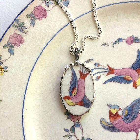 Gebroken china sieraden ketting hanger antieke kleurrijke