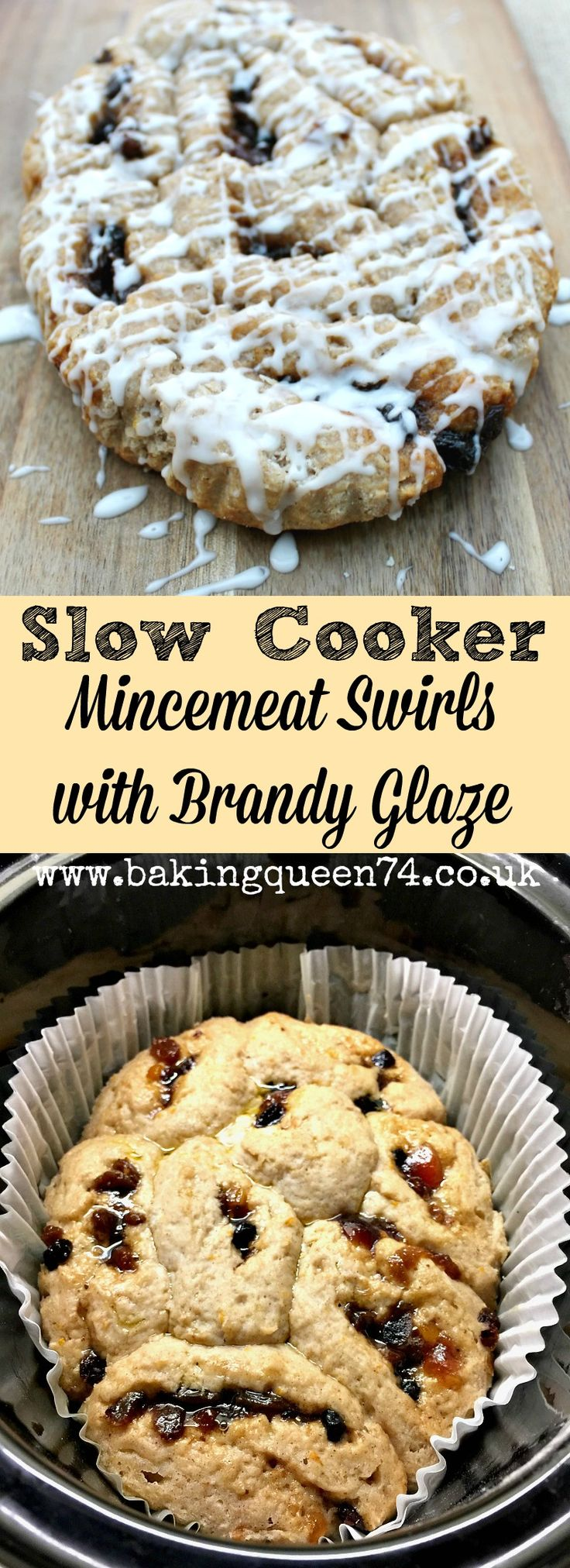 Slow cooker mincemeat swirls with brandy glaze