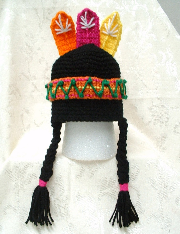 Lil Indian Boy/Girl Hat Pattern - crochet: Indian Boy Girl, Lil Indian ...