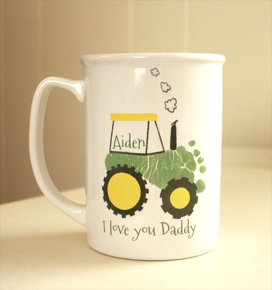 Your child's actual prints on a mug with special message. Tractor, Mother's Day, Father's Day, New mom, new dad, hand and footprint art