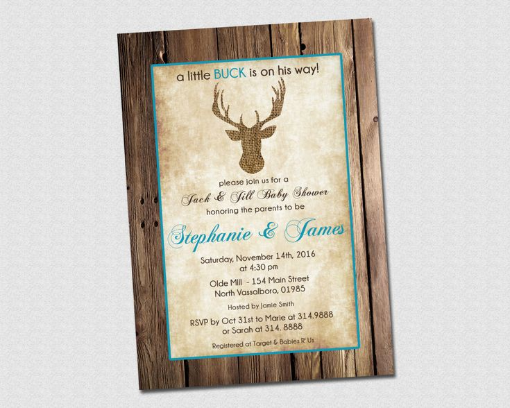 little buck deer jack and jill baby shower invitation printable by