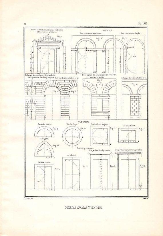 Doors Arcades Windows Architectural Drawing Vignola by carambas, $14.00