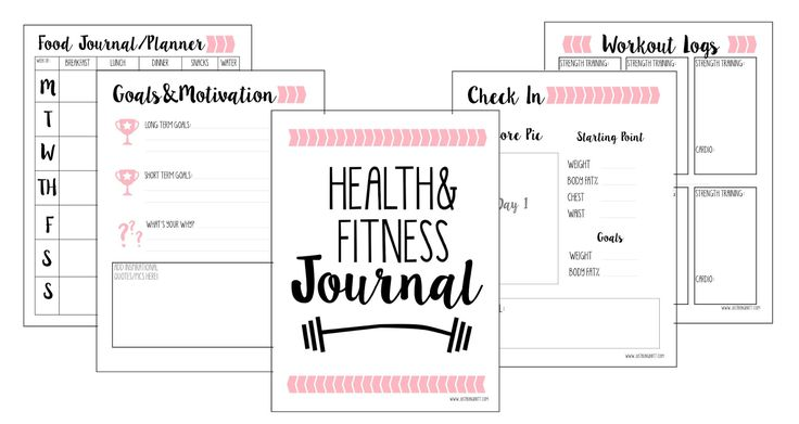 Free Fitness Journal Planner Printable Gift