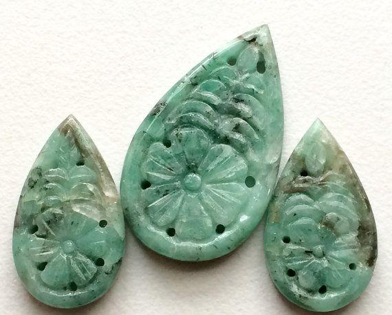 Emerald Filigree Hand Carved 3 Pc Set Original by gemsforjewels