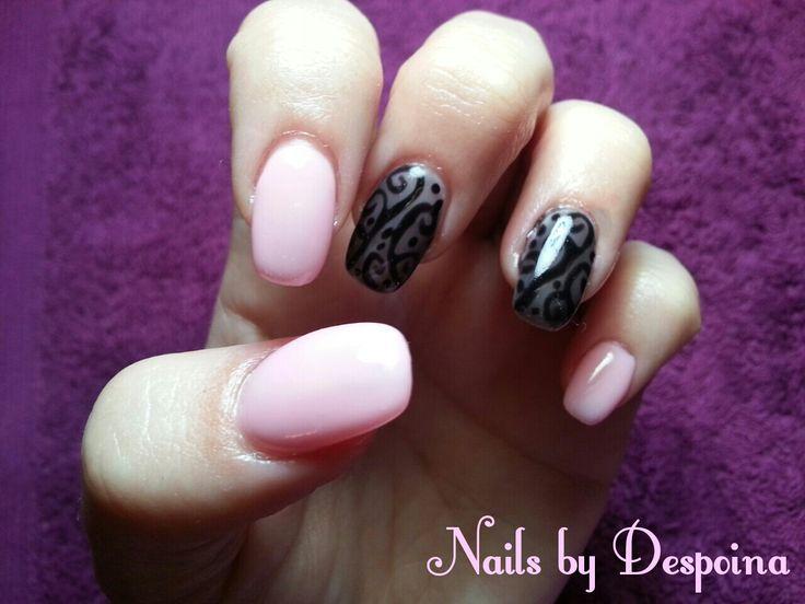 Pink nails , black see through designs