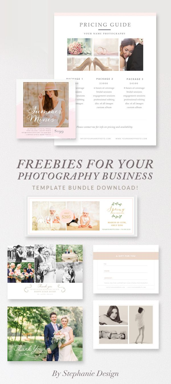 Free Photographer Essentials Marketing Bundle - Includes Pricing Guide, Thank You Card, Mini Session Template, Gift Card, and Facebook Timeline. By Stephanie Design
