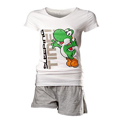 Pyjama – 'Super Mario Bros' – Yoshi – Femme – S: Super Mario Bros Yoshi des femmes dormir ensemble Shortama fois 100 % coton Forme effilée…