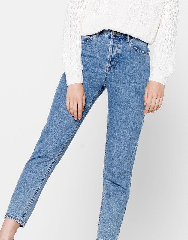 Calças de ganga mom fit - Jeans - Vestuário - Mulher - PULL&BEAR Portugal