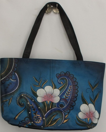 Anuschka Sz Large Tote Bag Denim Paisley & Floral Print Blue NEW 2nd