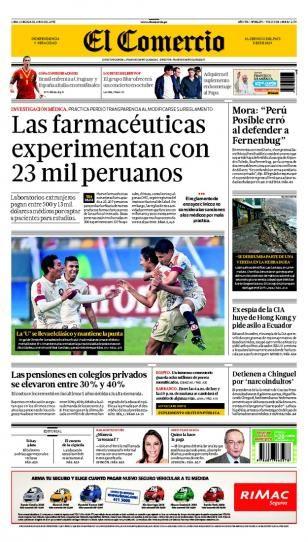 LUNES 24 de JUNIO de 2013  (PORTADA DE EL COMERCIO)