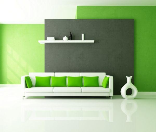 Farbideen Wohnzimmer Weisses Sofa Grne Kissen