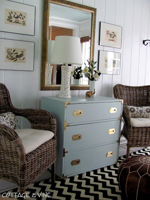 cottage and vine: Cute dresser updated with Glidden Paint in Icy Teal.