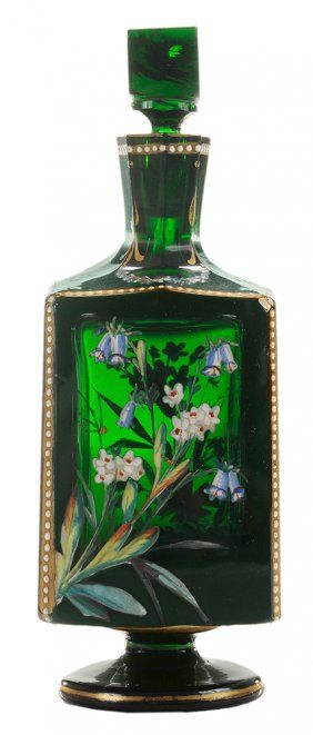 Footed Rich Emerald Green and Enameled Glass Cologne Bottle