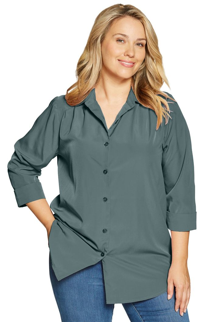 Shirt in silky peachskin - Women's Plus Size Clothing