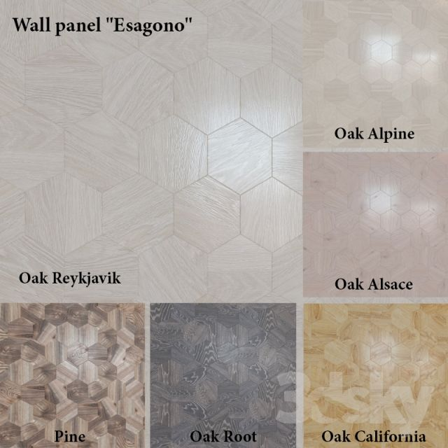 "3d models: Other decorative objects - Wall panel ""Esagono"" (6 colors)"