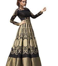 Buy Golden cotton silk printed semi stitiched party wear gowns party-wear-gown online