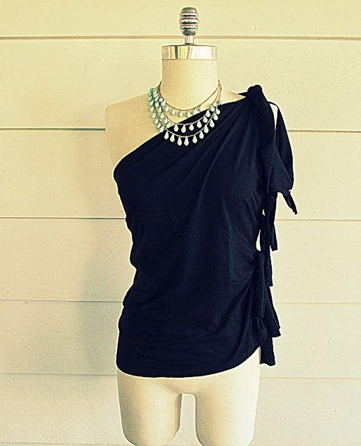 Wobisobi: No Sew, One Shoulder Shirt. DIY#Repin By:Pinterest++ for iPad#