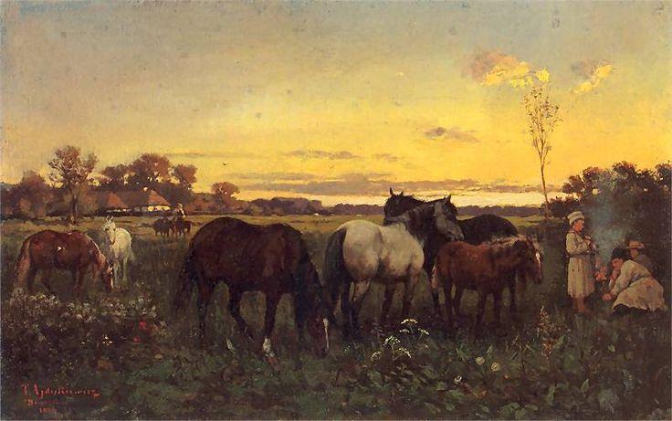 Tadeusz Ajdukiewicz: Konie na pastwisku 1874. Olej na płótnie. 25,5 x 40,5 cm. Lwowska Galeria Sztuki.