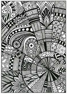 Doodle Pattern Drawing Zentangle Postcard Nghệ Thuật