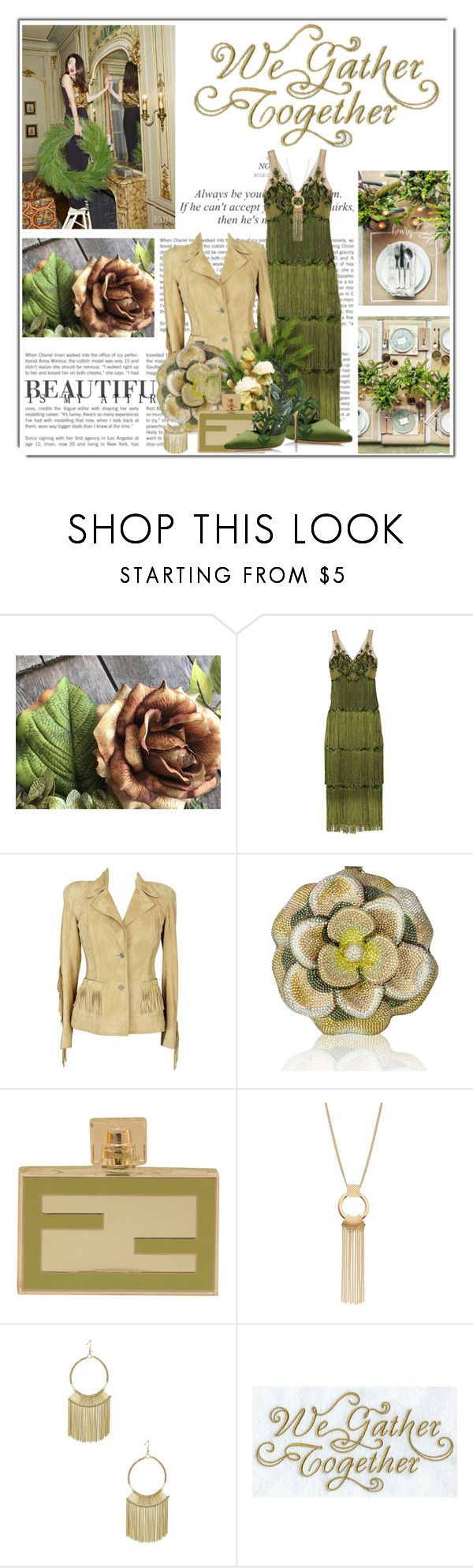 """""""We Gather Together"""" by queenrachietemplateaddict ❤ liked on Polyvore featuring Le Chateau, Notte by Marchesa, Christian Dior, Judith Leiber, Fendi, GREEN, thanksgiving and PearlsandLace"""