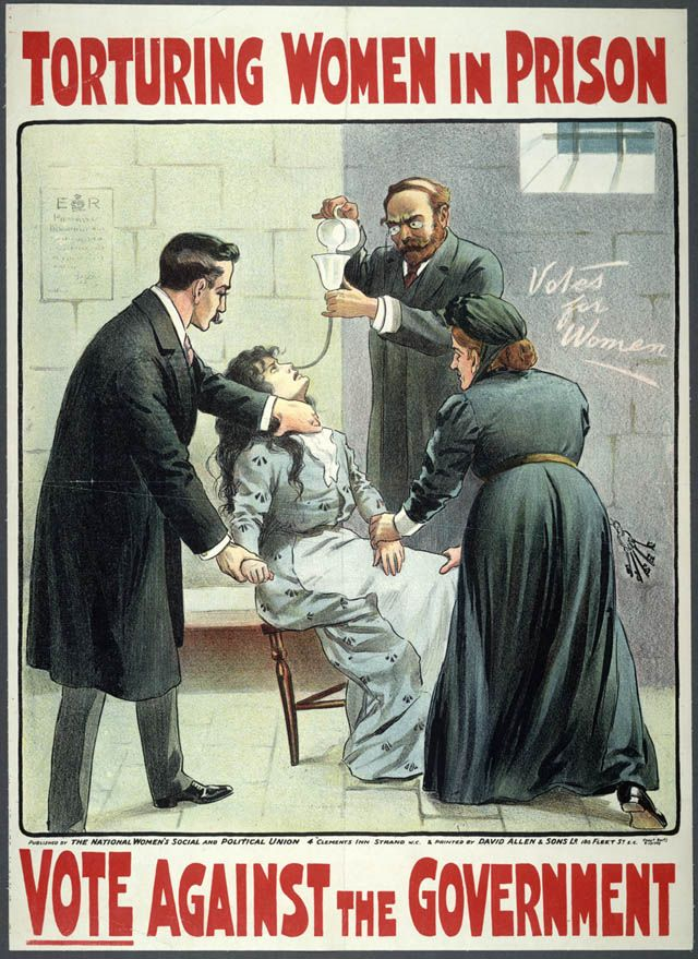 Suffragette movement. National Women's Social and Political Union, London, ca. 1909: Torturing Women in Prison. Vote Against the Government.