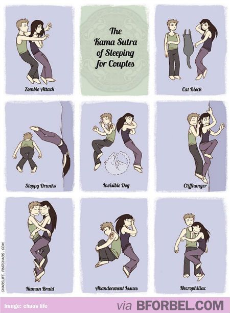 The Karma Sutra of Sleeping for couples---I think all of these happen every night!