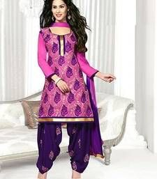 Buy Purple embroidered Cotton unstitched salwar with dupatta dress-material online