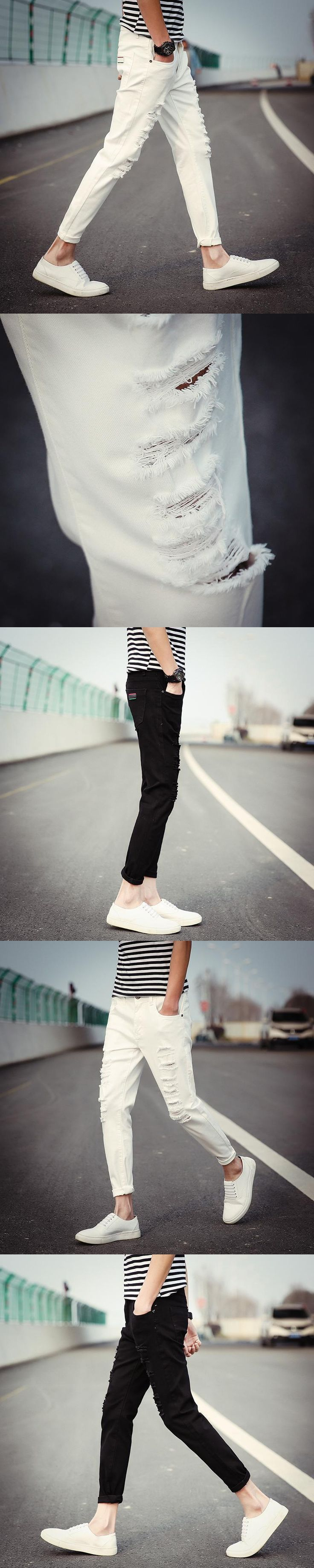 Mens Skinny Jeans Runway Distressed Slim Nine Pants Ripped Jeans with Holes Denim Biker Jeans Washed White Jeans in Men's Jeans