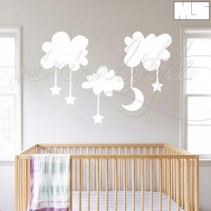 minimalstyle-baby's room-clouds-moon-stars-white2